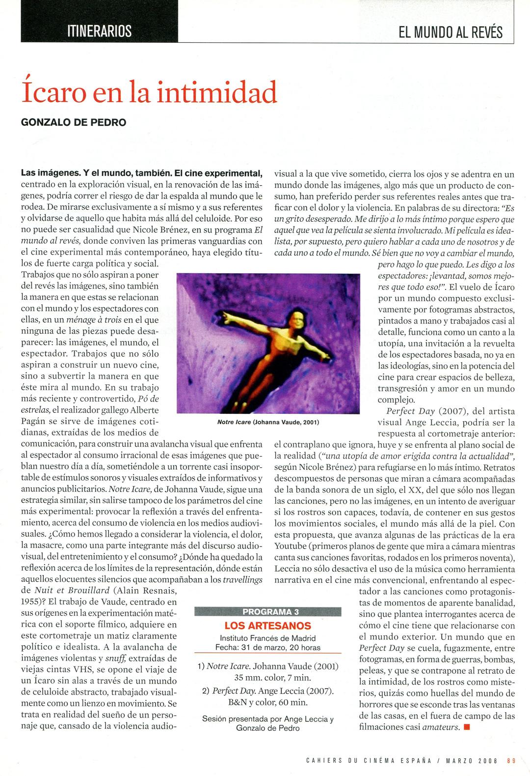 Cahiers du Cinema Espana - johanna vaude